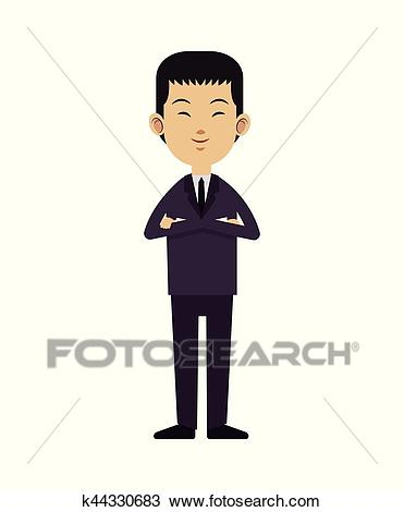 Asian man business leadership with suit tie Clipart.