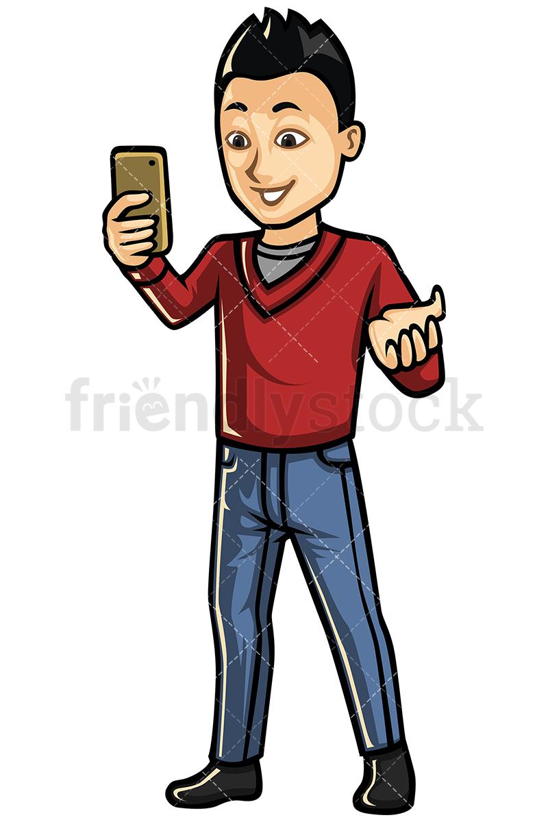 Asian Man Video Calling With Cellphone Vector Cartoon Clipart.