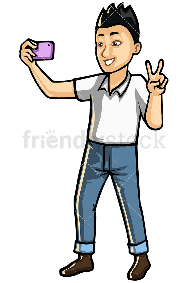 Asian Man Taking Selfie With Mobile Phone Vector Cartoon Clipart.