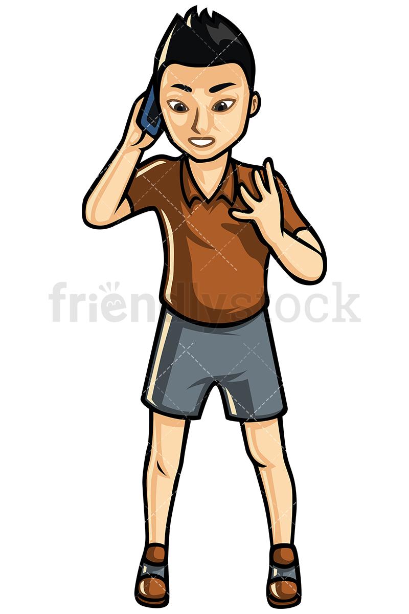 Asian Man Making A Call Vector Cartoon Clipart.