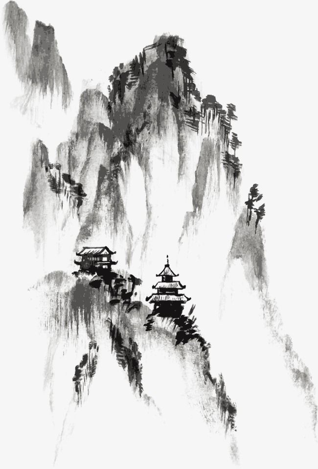 Ink, Chinese Painting, Mountain PNG Transparent Clipart.