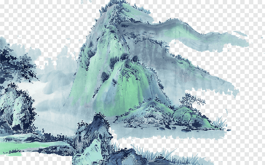 White and blue snowy mountains painting, China Chinese.
