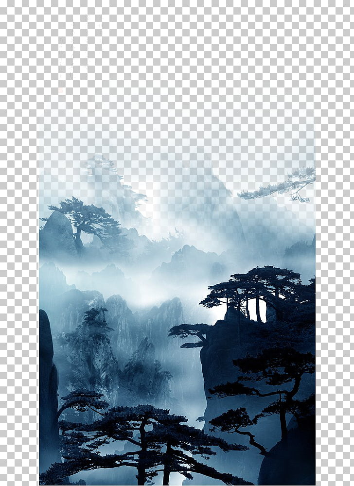 China Nature Chinese painting, Wash mountain, silhouette of.