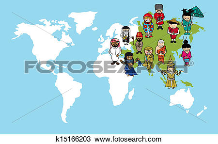 Clipart of Asian people cartoons, world map diversity illustration.