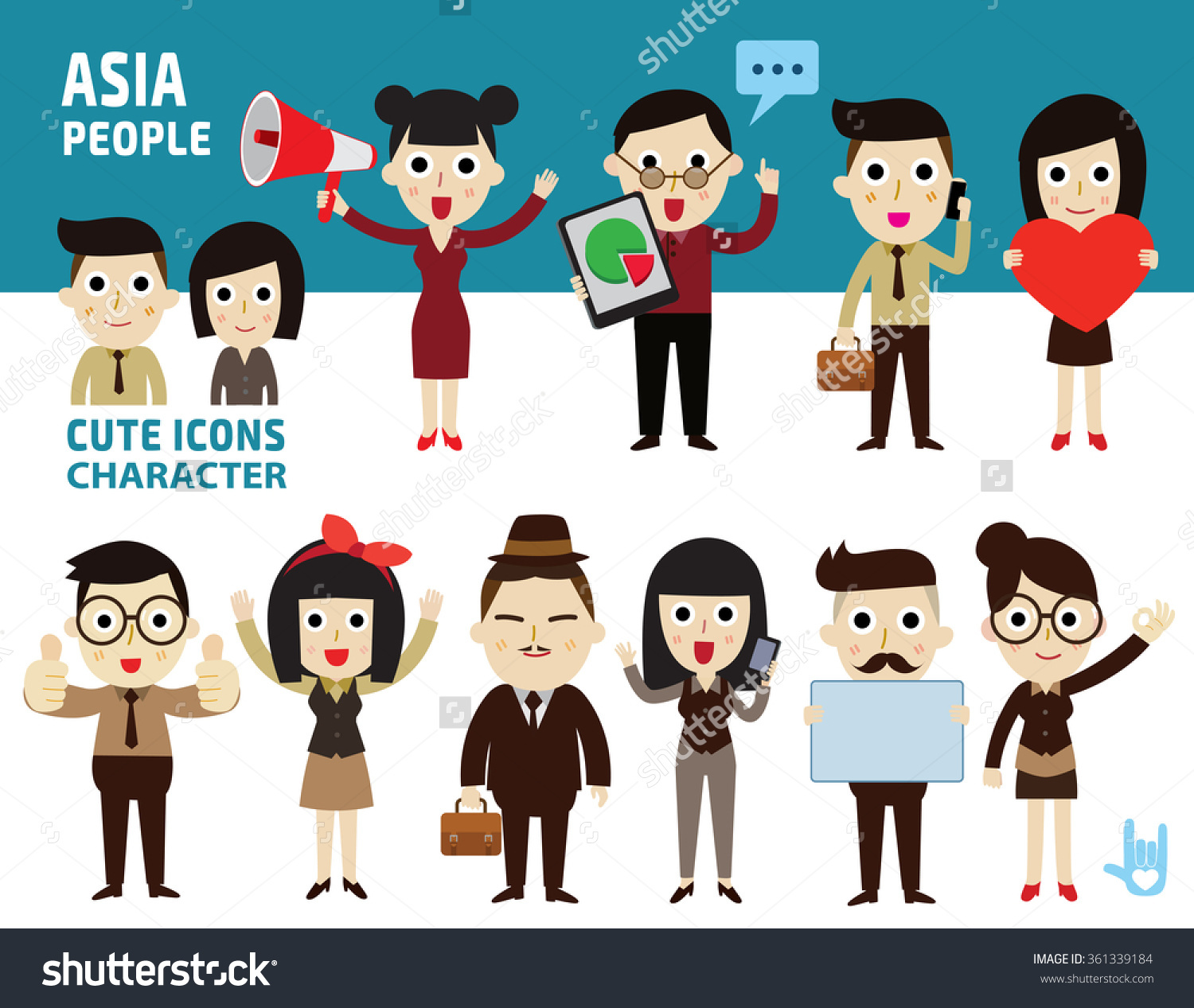 Set Difference Asian People flat Worker Cartoon Stock Vector.