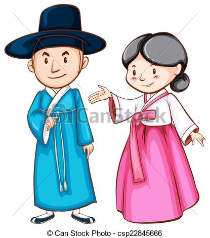Clip Art Vector of Asian people and clothes illustration.