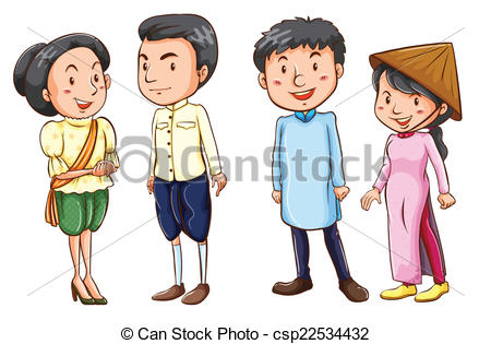 Clipart Vector of A group of Asian people.