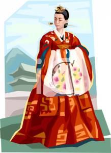 A Colorful Cartoon of an Asian Princess.