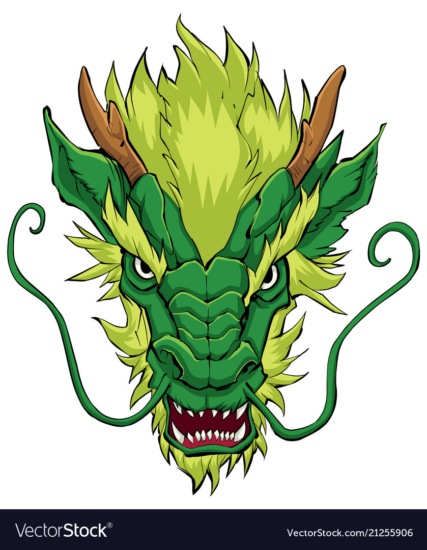 Chinese dragon head green.