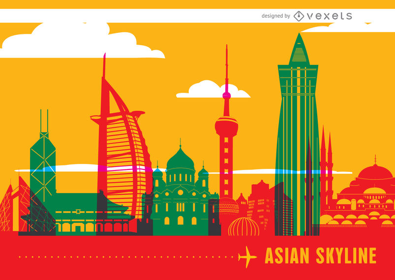 Asian skyline landmarks.