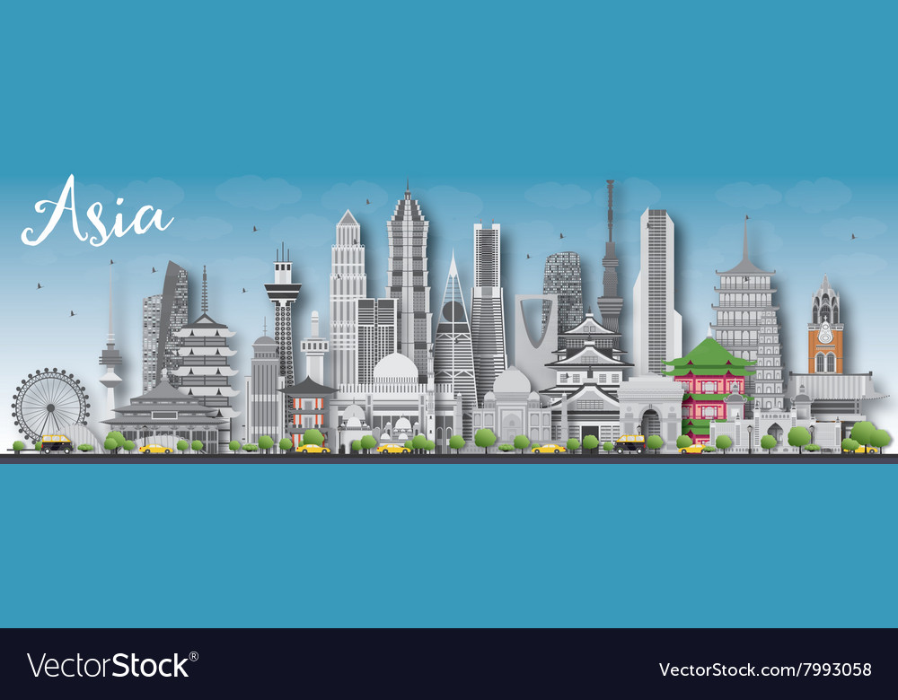 Asia skyline silhouette with different landmarks vector image.