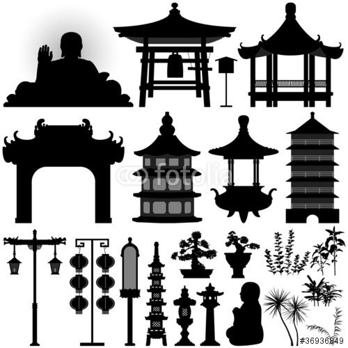 Vector: Chinese Asian Temple Building Architecture Design.