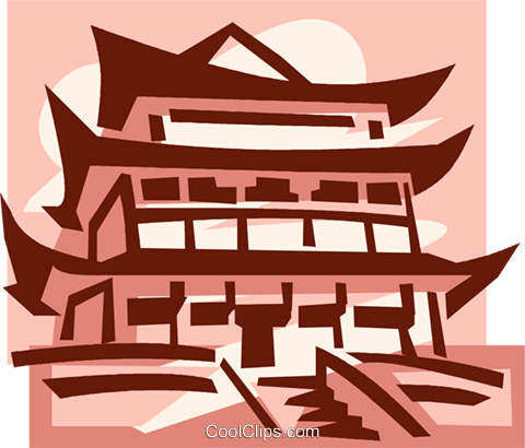 Asian temple Royalty Free Vector Clip Art illustration.