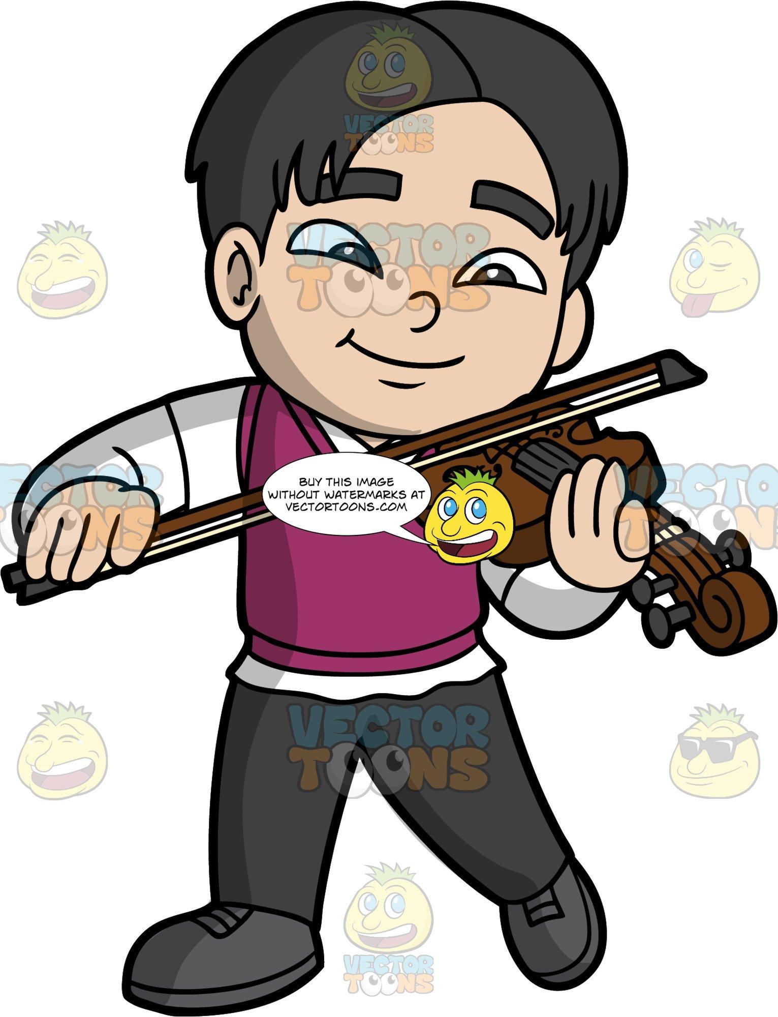 An Asian Boy Playing The Violin.
