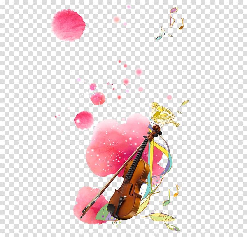 Violin Watercolor painting Cartoon, Pink Ink violin.