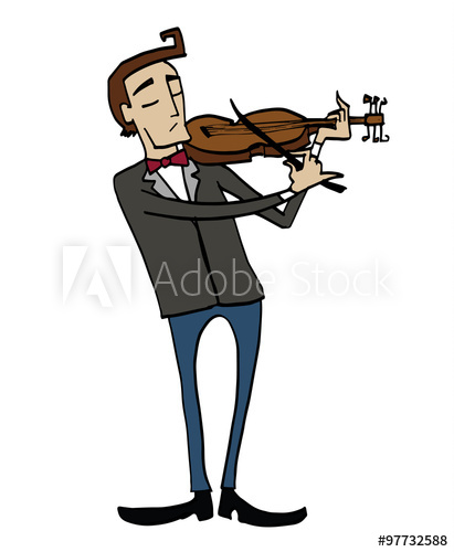 Cartoon violinist. Musician playing a violin. Clipart, hand.