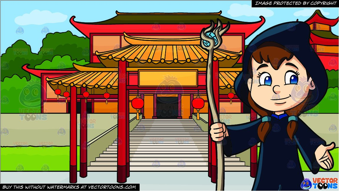 A Cute Girl Dressed As A Wizard and A Chinese Temple Background.