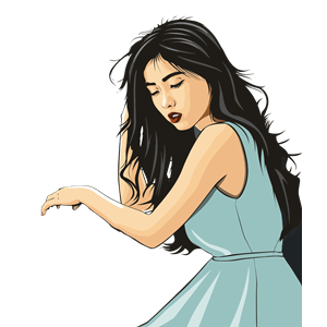 Dark Haired Asian Lady clipart, cliparts of Dark Haired Asian Lady.
