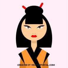 asian woman clipart free vectors.