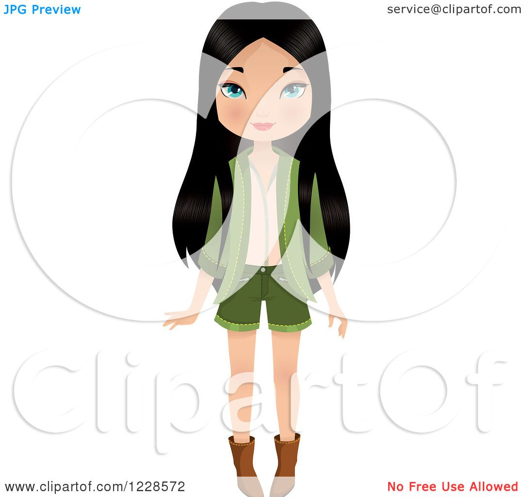 Clipart of a Long Haired Young Asian Woman in a Green Outfit.