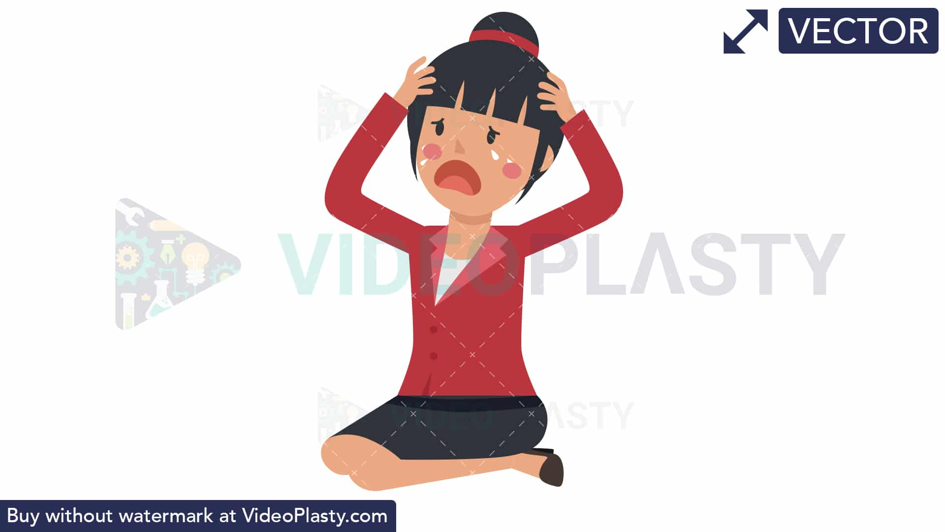 Asian Corporate Woman Crying [VECTOR].