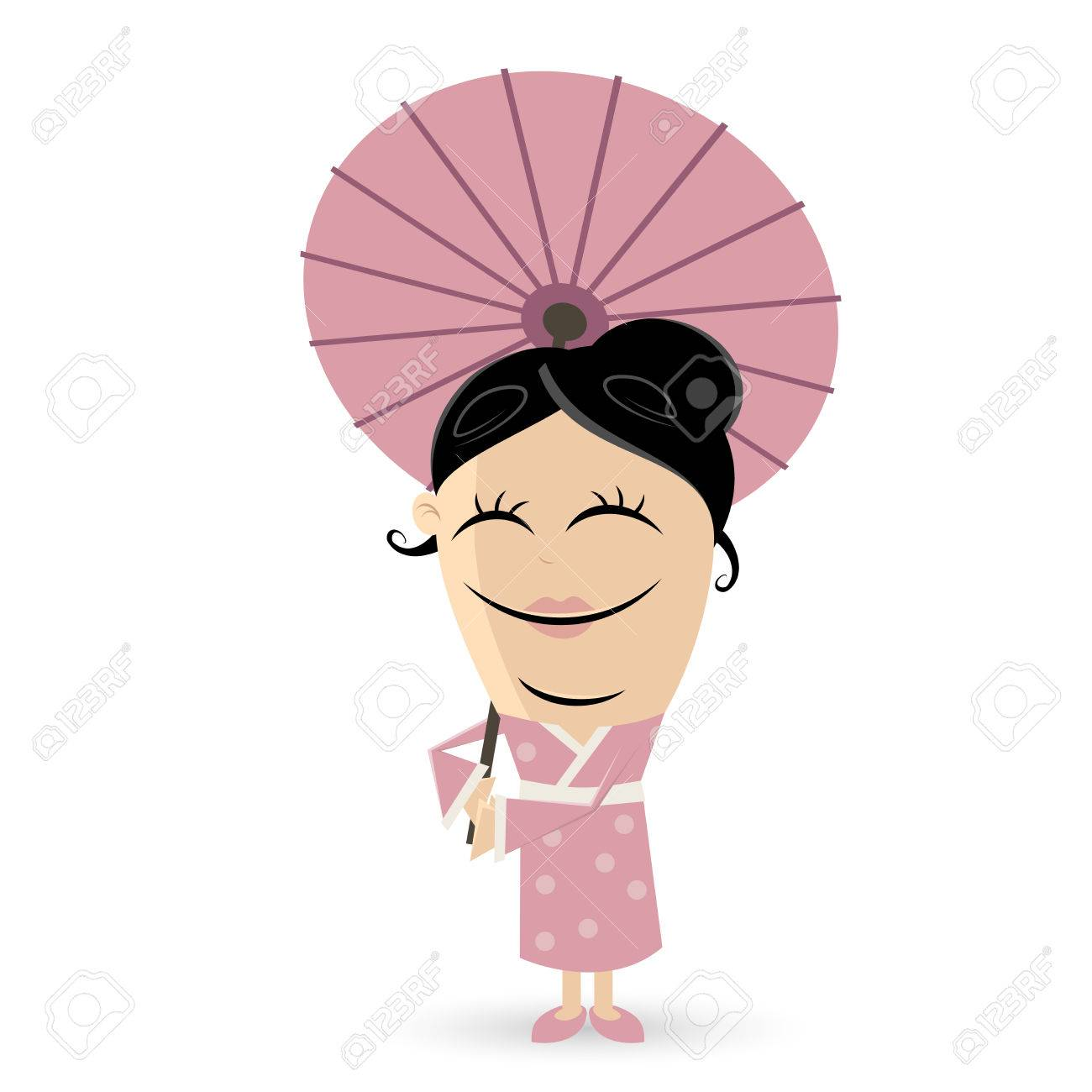 happy asian woman clipart.
