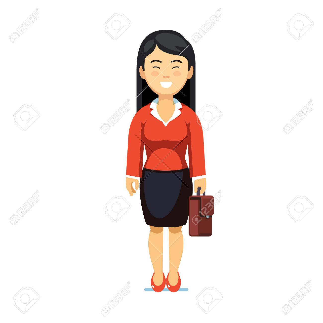 Asian business woman standing with suitcase.