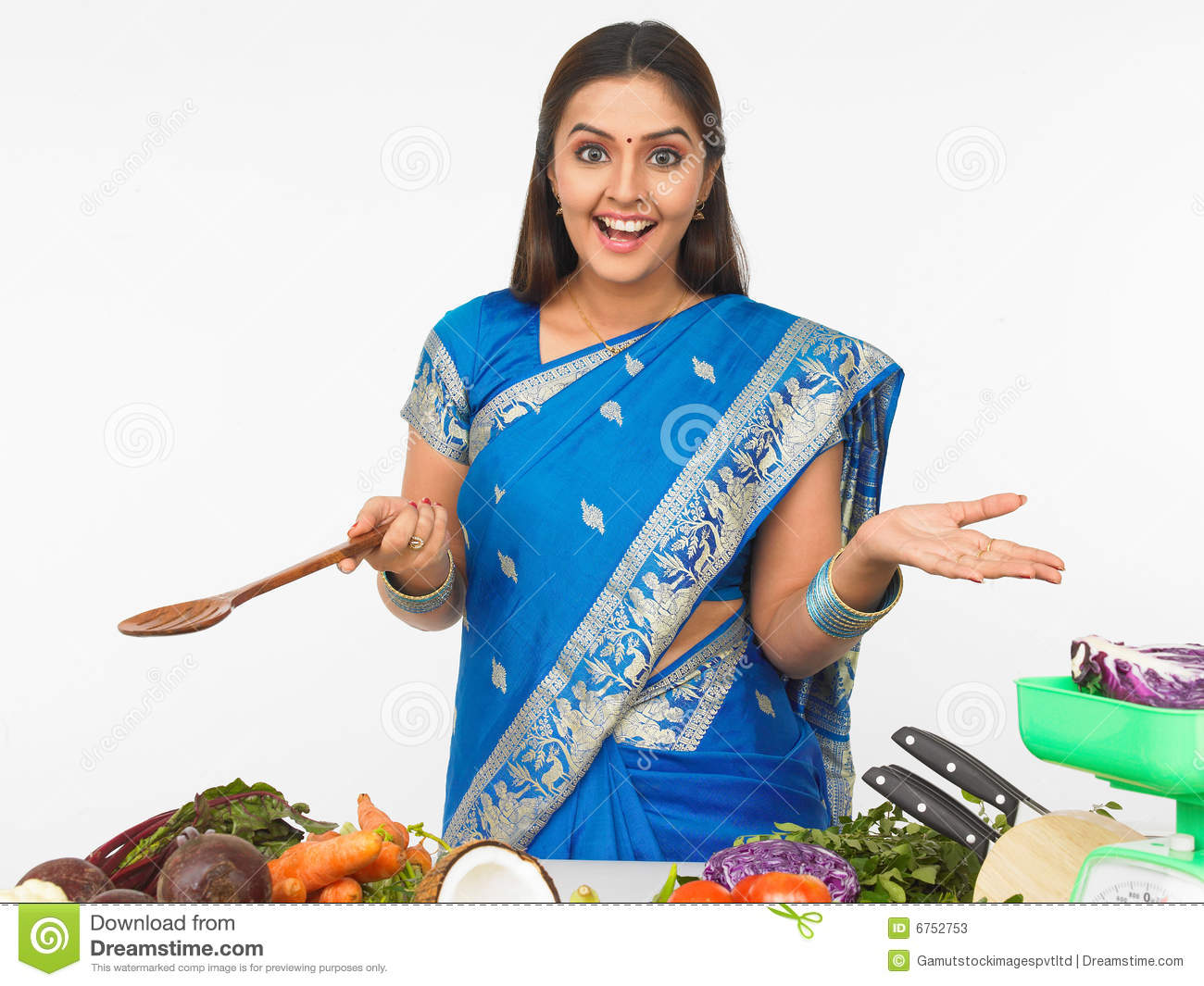 Indian Woman Cooking Clipart.