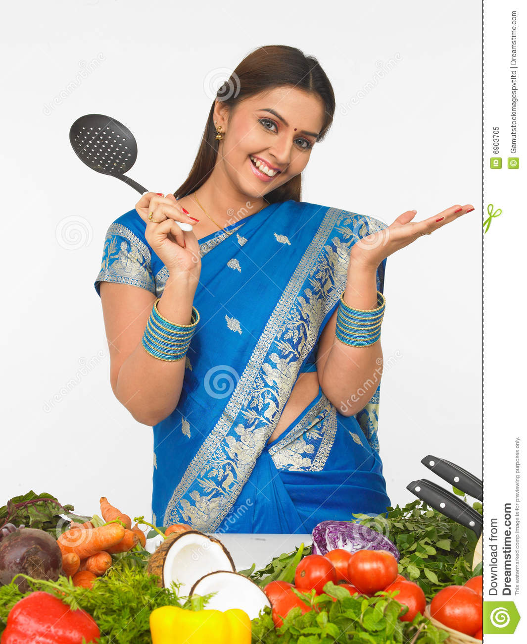 Indian Lady Cooking Clipart.