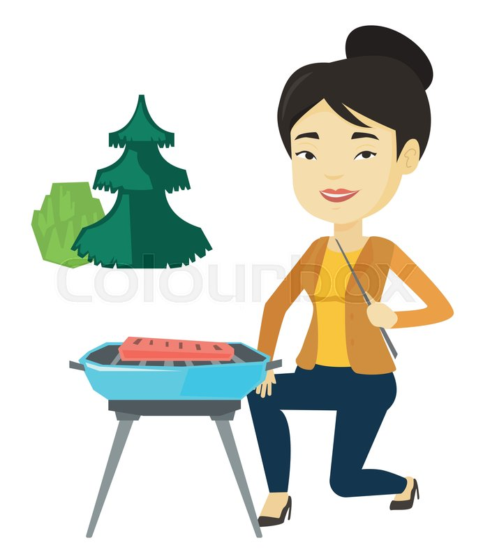 Asian woman cooking steak on barbecue.