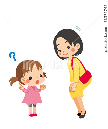 Little girl asking a question to an adult.