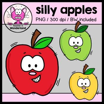 FREEBIE silly apples clipart [teacherinwonderland].