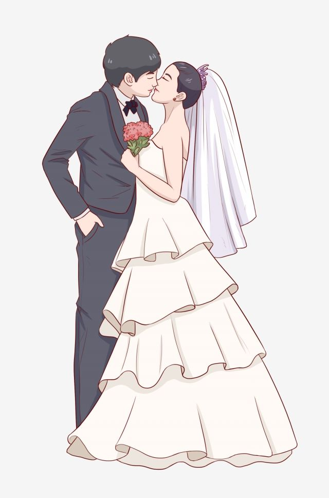 Hand Painted Marry Wedding Couple, Kiss, Illustration.