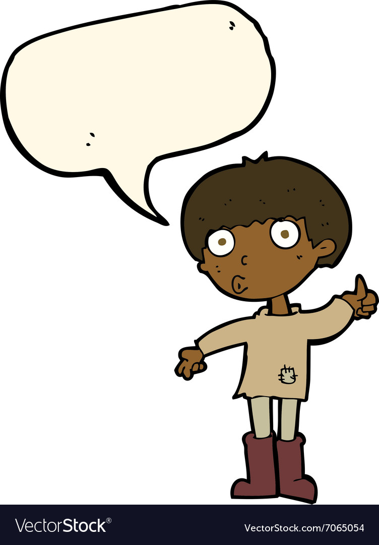 Cartoon boy asking question with speech bubble.