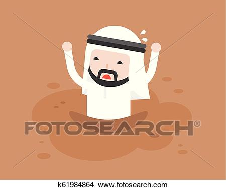 Arab Businessman asking for help because he was trapped in quicksand like  mud Clipart.