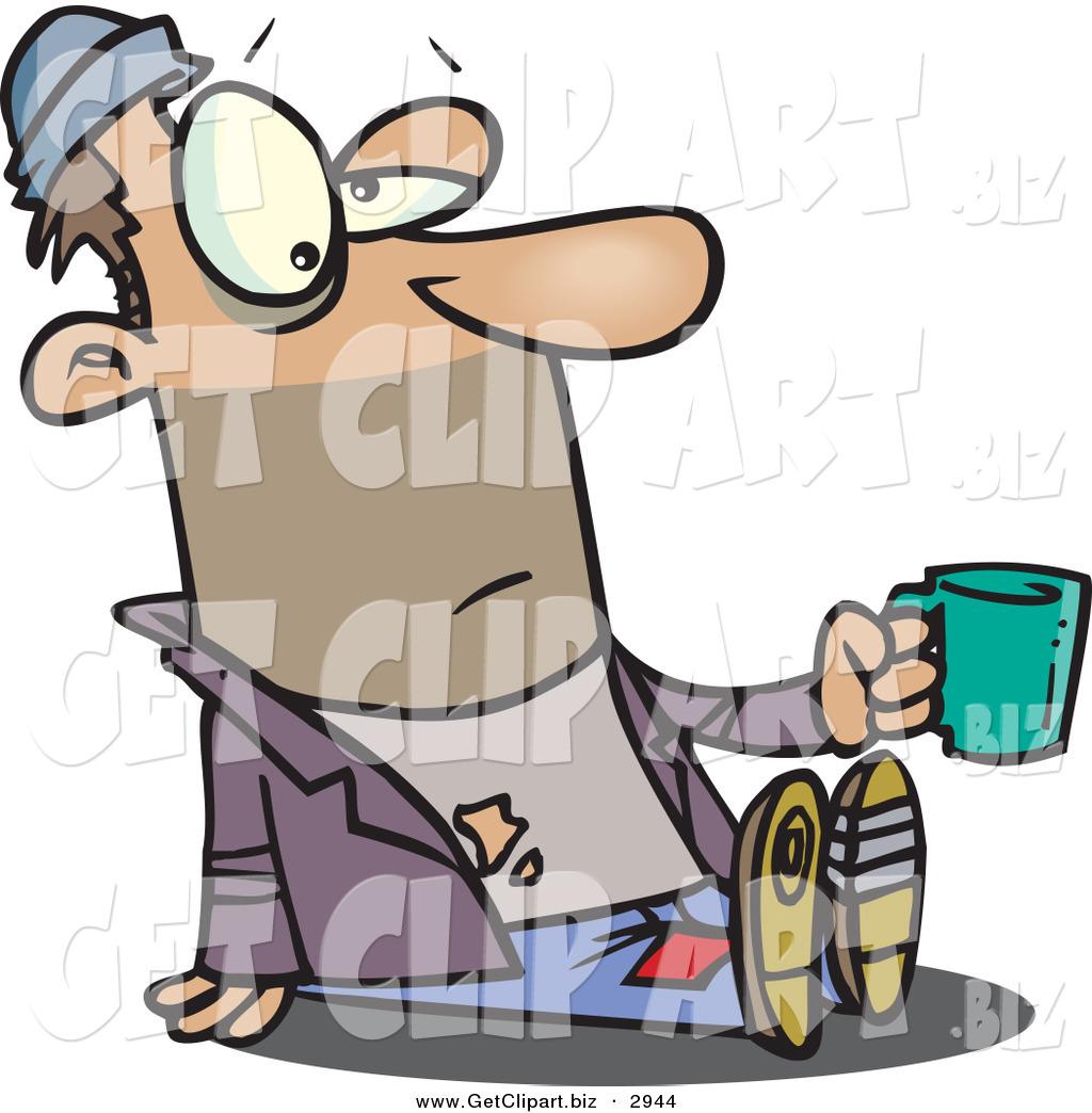 Clip Art of a Tired Caucasian Homeless Beggar Man Sitting on.