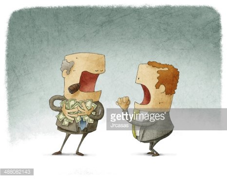 Businessman Asking for Money TO A Greedy premium clipart.