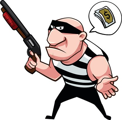 Thief asking for some money Clipart Image.