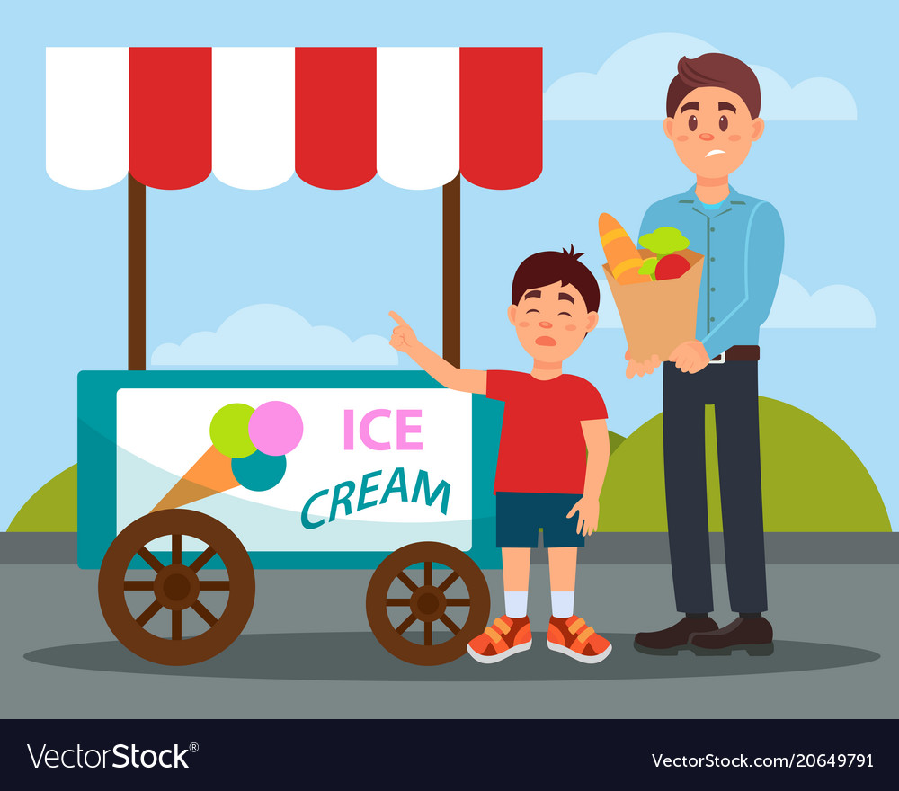 Capricious child asking his father to buy ice.