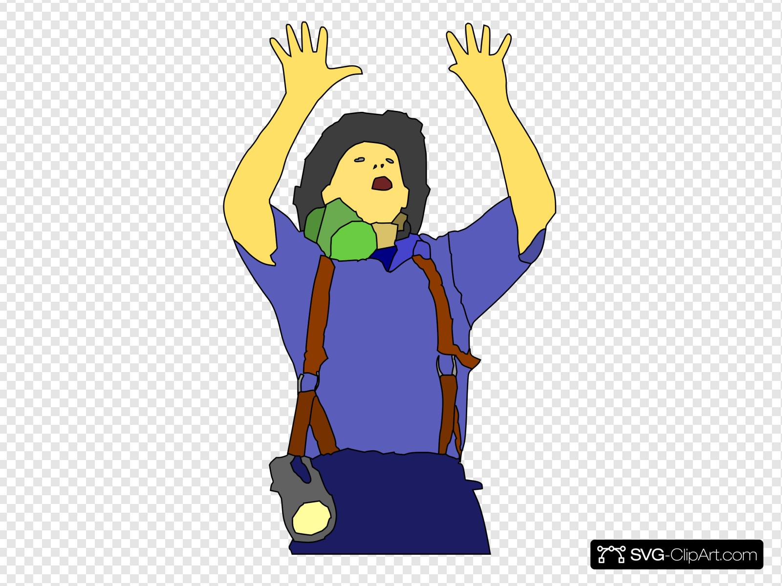 Fireman Asking For Support Clip art, Icon and SVG.