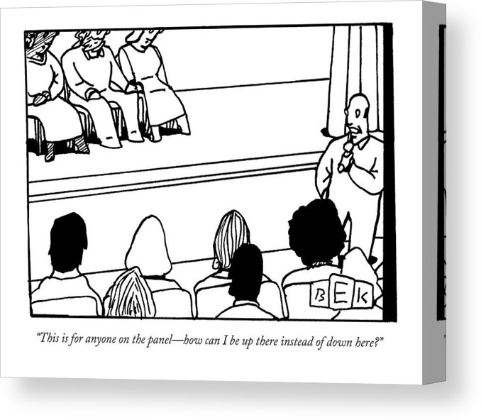 A Man Asking A Question At A Panel Lecture Canvas Print.