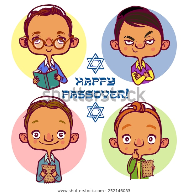 Four Jewish Boys Asking Questions Pesah Stock Vector.