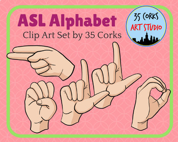ASL American Sign Language Clip Art Set.