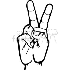 sign language letter V clipart. Royalty.