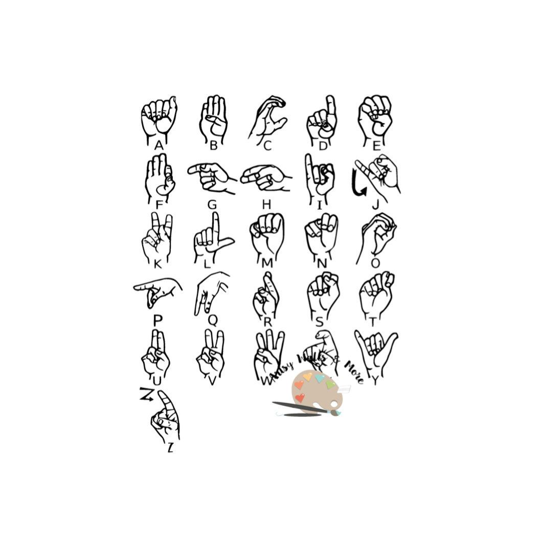 American sign language Alphabet svg cut file clipart Silhouette.