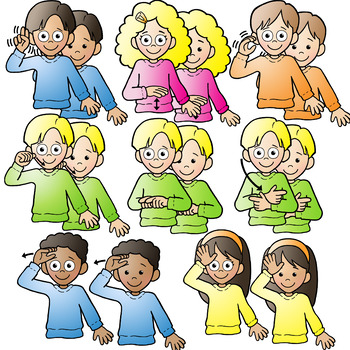 ASL American Sign Language Kids signing Family Words Clipart Clip Art.