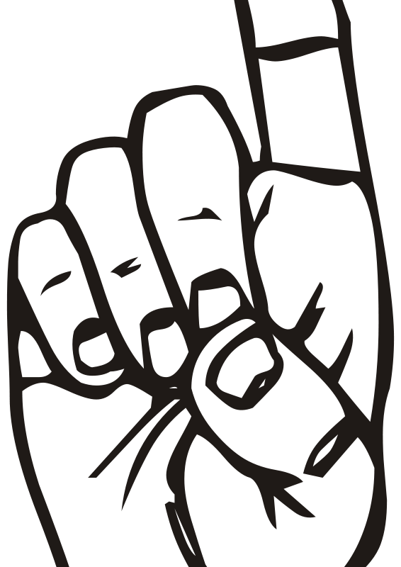Free Clipart: Sign language D, finger pointing.