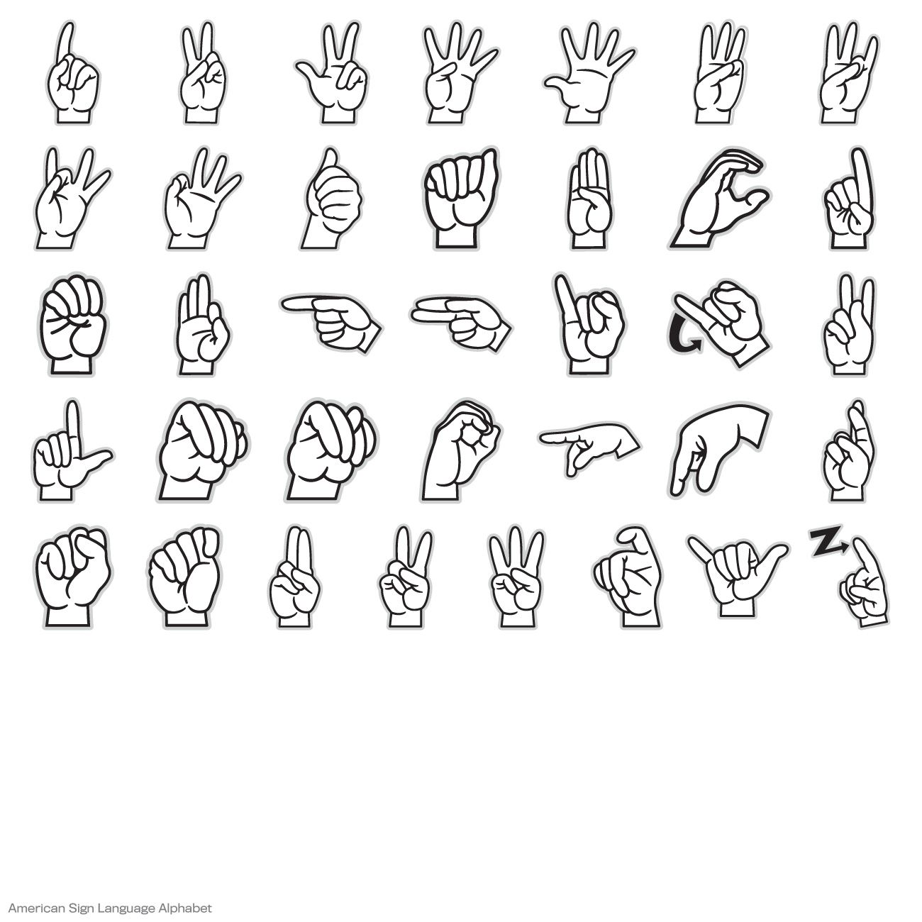 American Sign Language Alphabet Digital Set.