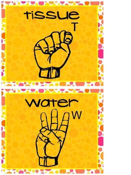 Wall Posters of Hand Signals for Bathroom, Water and Tissue.