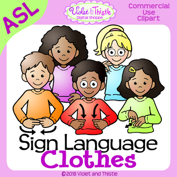 ASL American Sign Language Kids Clothes Clothing Signs Clipart.